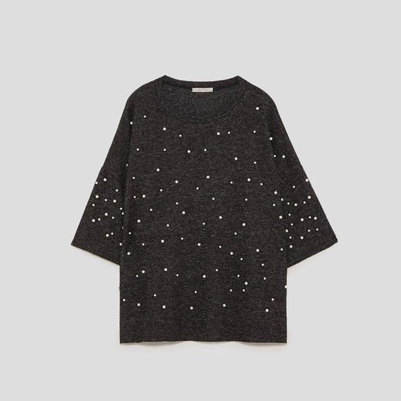 72a9038ccf8 NWT Zara Soft Touch Sweater Faux Pearls Dark Gray NWT